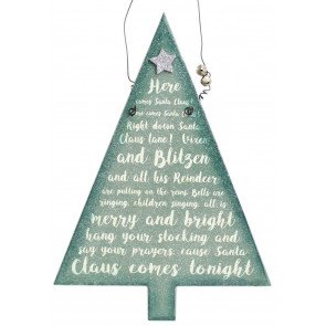 Hanging Frosty Glitter Christmas Tree Song Plaque Decoration ~ Here Comes Santa Claus