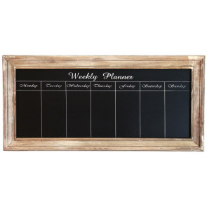 Shabby Chic Blackboard Weekly Planner Memo Chalkboard 67cm x 32cm ~ Natural