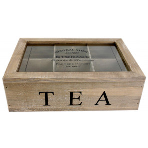 Vintage General Store Wooden Tea Box Chest Holder With 6 Compartents