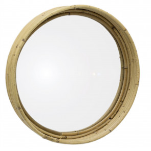 29cm Natural Round Woven Wicker Wall Mirror | Decorative Wall Hanging Rattan and Glass Boho Mirror
