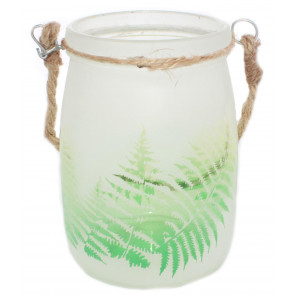 Frosted Glass Fern Design Decorative Tealight Candle Holder Pot With Handle