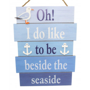 Decorative Wooden Nautical Plaque Hanging Sign ~ Beside The Seaside