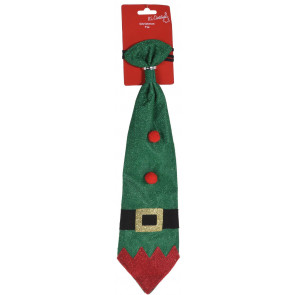 Novelty Festive Father Christmas Elf Office Party Celebration Glitter Tie - Green