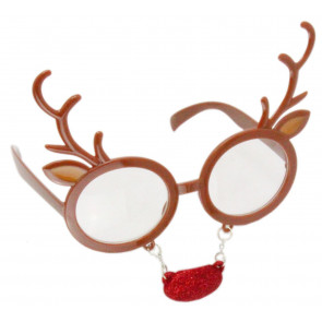 Novelty Christmas Party Fun Festive Fancy Dress Glasses - Reindeer
