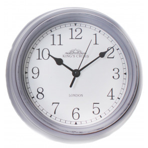 Shabby Chic Vintage Small Kitchen King's Cross London Wall Hanging Clock 22cm ~ Grey