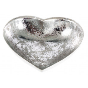White And Silver Metal Heart Tealight Candle Holder 11cm