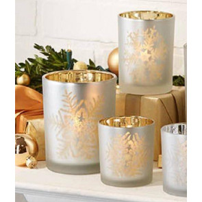 Set Of 3 Frosted Silver Glass Tealight Holders With Snowflakes ~ Gold