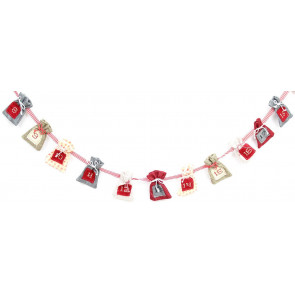 Fabric Christmas Present Sack Advent Garland Calendar Bunting Decoration 310cm