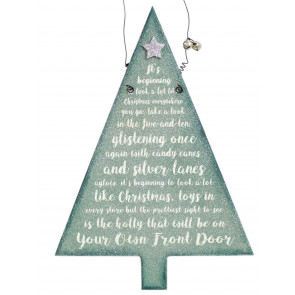Hanging Frosty Glitter Christmas Tree Song Plaque Decoration ~ Beginning To Look Like Christmas