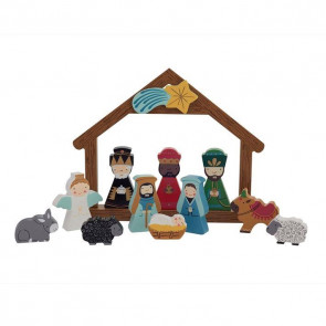 Hand Painted Keepsake Wooden Nativity Set Christmas Decoration