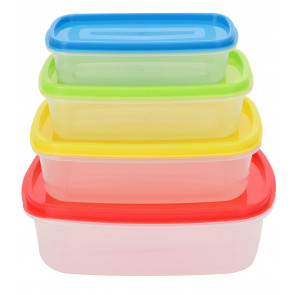 Set Of 4 Airtight Food Storage Containers With Lids Stackable Boxes - Rectangle