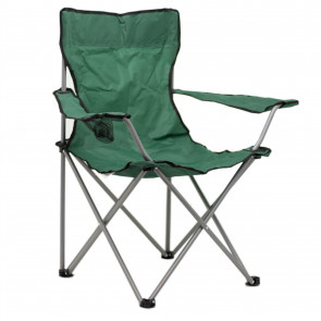 Deluxe Portable Folding Camping Chair | Outdoor Fold Out Lightweight Camp Chairs | Picnic Chairs Folding Armrest Cup Holder - Green