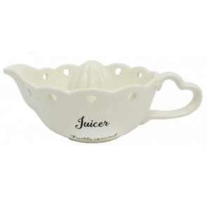 Lovely White Ceramic Decorative Heart Hand Press Fruit Squeezer Citrus Juicer