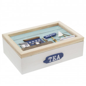 Nautical Wooden Tea Box Caddy 24x16cm | 6 Compartment Tea Bag Holder | Coastal Beach Storage Box Kitchen Organiser - Design Varies One Supplied