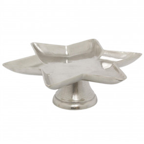 40cm Silver Metal Star Pedestal Display Stand | Decorative Display Plate Dish | Christmas Candle Tray