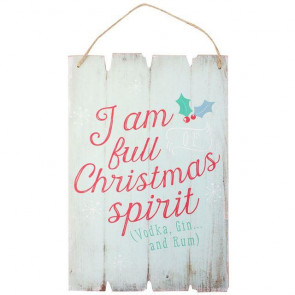 Wooden Shabby Chic Full Of Christmas Spirit Hanging Plaque Sign Decoration