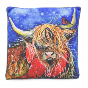 38cm Handsome Highland Cow Robin Scatter Cushion | Winter Fabric Filled Sofa Cushion | Festive Bed Throw Pillow With Cover