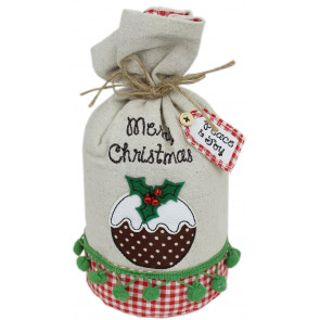 Rustic Fabric Merry Christmas Pudding Doorstop