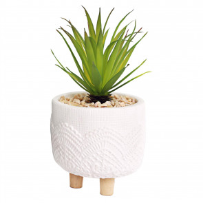 Artificial Succulent Plant With Pot | Faux Plant And Planter | Fake Plants Home Decor - White