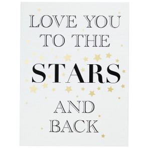 Gold Wooden Love Sign Wall Hanging Plaque 30cmX40cm ~ Love You To The Stars
