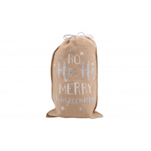 Hessian Santa Father Christmas Present Gift Sack Bag ~ Merry Proseccomas