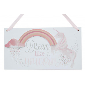 Wooden Hanging Star Rainbow Unicorn Plaque Decorative Sign ~ Dream Like A Unicorn