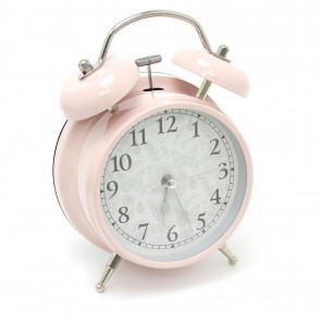 Retro Style Metal Twin Bell Analogue Alarm Clock - Vintage Bedside Table Desk Clock, Analog Twin Bell Alarm Clock ~ Pink