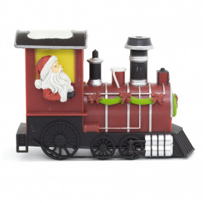 LED Father Christmas Train With Steam | Light Sound Steam Santa Train | Battery Xmas Ornament Decoration - Design Varies One Supplied