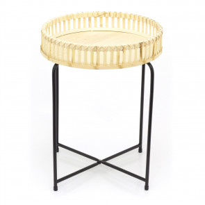 Round Bamboo Side Table | Occasional Pedestal Table Bedside Tables | Living Room End Tables