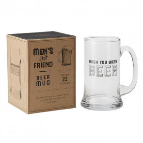 Men's Best Friend Beer Stein Glass Pint Tankard Mug ~ Wish You Were Beer