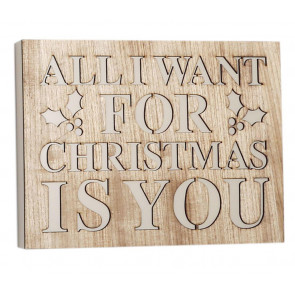 Cut Out Word Phrase Hanging Wooden Christmas Sign Plaque ~ All I Want