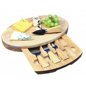 Occasion Large Oval Cheese Board Set With Integrated Drawer And 4 Specialist Cheese Knives