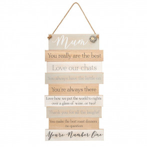 Mum Wooden Wall Art Plaque Hanging Sign - Ideal Mothering Sunday Mother's Day Gift