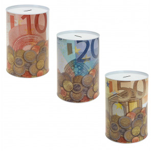 Euro Note Tube Money Box Tin ~ Novelty Piggy Bank - Saving Pot Design Varies