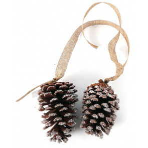 Artificial Glitter Christmas Pine Cone Decoration With Hessian Ribbon