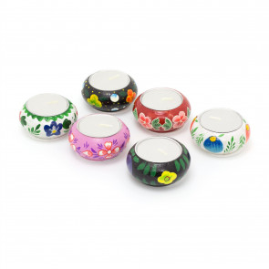Set Of 6 Mexican Tealight Candle Holder | Ceramic Tea Light Candle Pot | Moroccan Tealight Candles
