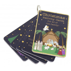 Set of 5 Wooden Christmas Nativity Carol Cards Book Decoration