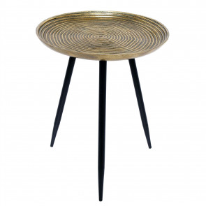 Antique Style Gold Tone Round Pedestal Table | Occasional Side Table Bedside Tables | Living Room End Tables