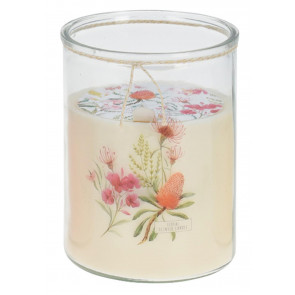 Large Botanical Jar Candle 16.5cm x 13.5cm – Jumbo Multi Wick Floral Candle in Glass Jar ~ White (Fragrance may vary)