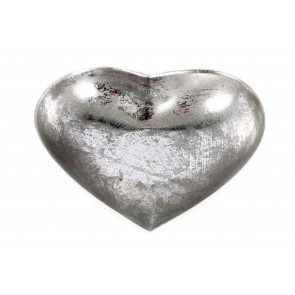 White And Silver Metal Heart Tealight Candle Holder 16cm