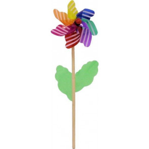 Multicoloured Striped Garden Windmill 45Cm