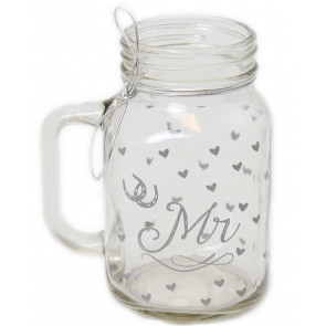 Bride And Groom Mason Style Clear Glass Wedding Drinking Jar ~ Mr