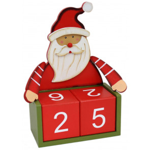 Large Wooden Perpetual Christmas Countdown Advent Calendar Block 26cm x 21cm - Santa