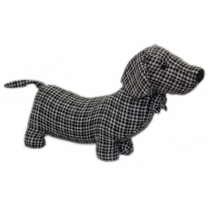 Herringbone Fabric Sausage Dog Doorstop 35Cm ~ Black Dachshund Puppy Dog Door Stop