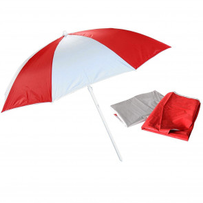 2 In 1 Beach Umbrella Sun Shade Canopy UV50 Protection | Protective Beach Weather Shelter Parasol | Holiday Travel Beach Umbrella - Red