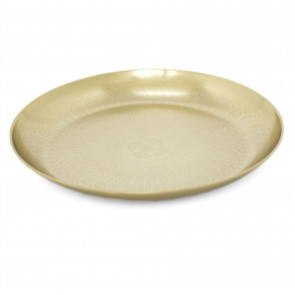 Kasbah Gold Metal Mandala Flower Display Dish | Round Decorative Presentation Bowls | Ornament Candle Tray Plate - 33cm