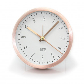 Rose Gold Analogue Bedside Alarm Clock - Modern Desk Clock With Stand