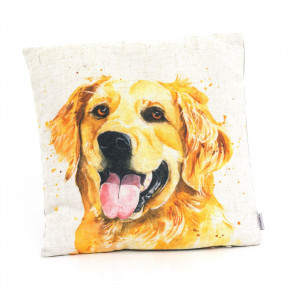 Golden Retriever Scatter Cushion | Fabric Filled Sofa Cushion | Bed Throw Pillow With Cover - 35cm