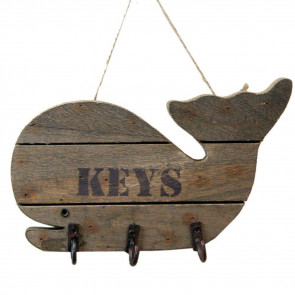 Wooden Whale Key Holder ~ Shabby Chic Key Hooks