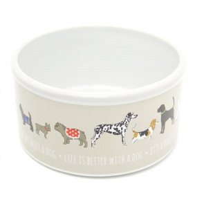 13cm Chunky Ceramic Dog Puppy Food Feeder Water Bowl - Pet Feeding Dish